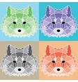 Low poly lined foxes set vector image vector image