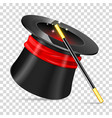 magician hat with wand vector image
