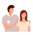 man and woman standing together and hugging vector image vector image