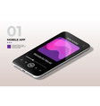 modern mobile cell phone with audio player ui ux vector image vector image