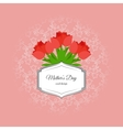 mothers day card with red tulips vector image vector image