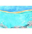 ocean wave and coral at coastal beach watercolor vector image