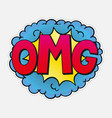 omg comic speech bubble in retro pop art style vector image vector image