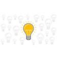 One lit bulb among unlit bulbs new idea business