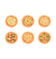 Pizzas with different toppings Cartoon stylized vector image vector image