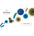 realistic biological microorganisms collection vector image vector image