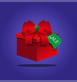 red gift box on a blue background vector image vector image