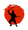 samurai warrior silhouette on red moon and white vector image vector image