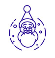 santa claus head with beard and hat linear icon vector image