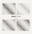 seamless halftone square patterns set vector image vector image