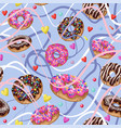 seamless pattern with yummy donuts vector image vector image
