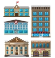 set flat buildings decorative icons vector image