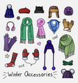 set of hand drawn women accessories winter vector image