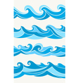 Set of seamless patterns with stylized waves blue vector image vector image