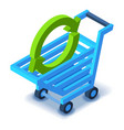 Shopping cart with arrow icon isometric style vector image