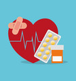 sick heartbeat healthy medicine bottle pills vector image vector image