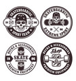 skateboarding set of four round badges vector image vector image