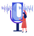 sound wave woman and microphone record voice vector image