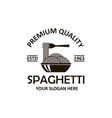 spaghetti pasta emblem vector image vector image