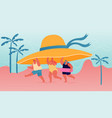 summer time season vacation concept tiny people vector image