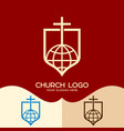 the cross of jesus and the globe vector image vector image