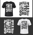 tshirt print with skull usa flag apparel design vector image