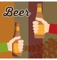two hand holds beer bottle poster vector image