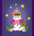 unicorn on a cloud holds a cake on a purple backgr vector image
