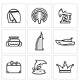 United Arab Emirates icons set vector image