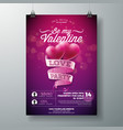 valentines day party flyer design vector image vector image