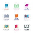 various book symbol logo design templates vector image
