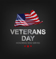veterans day with usa flag vector image vector image