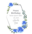 watercolor blue rose flower card vintage vector image vector image