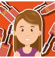 woman make up brush vector image vector image