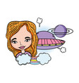 woman with ufo pop art style vector image vector image