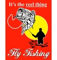 Fly fisherman catching largemouth bass with fly vector image