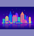 night city silhouettes of buildings with neon vector image