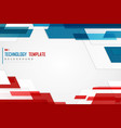abstract blue red tech template contrast vector image vector image