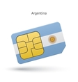 Argentina mobile phone sim card with flag vector image