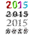 Artistic New Year 2015 numbers and digits vector image