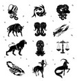 black silhouette of zodiac sign vector image vector image