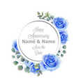 blue roses flowers watercolor round frame card vector image vector image