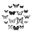 butterfly collection icons set simple style vector image vector image