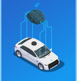 car brain isometric composition vector image vector image