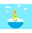 Child walking on ice vector image