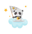 cute panda bear sitting on a cloud with a net for vector image vector image