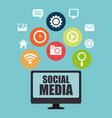 desktop with social media icon vector image vector image