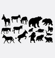 donkey and bear silhouette vector image