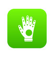 electronic glove icon digital green vector image vector image