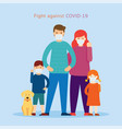 family wearing face mask fight against covid-19 vector image